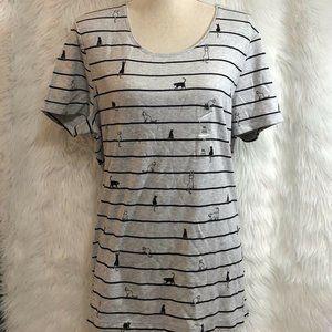 Karen Scott Size Large Cat Print Shirt Top T-Shirt